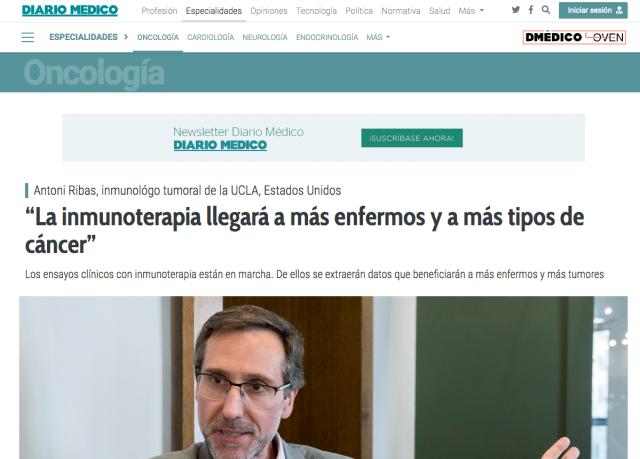 noticia diario medico 2018 Antoni Ribas